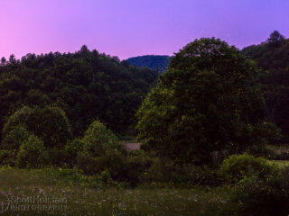 Firefly photography in the mountains at sunset.