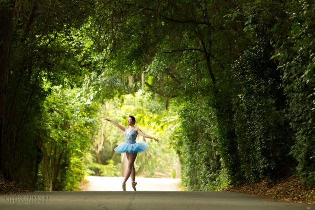 Small business photography sample: Dance studio, featuring a ballerina on a canopy road in Tallahassee, Florida.