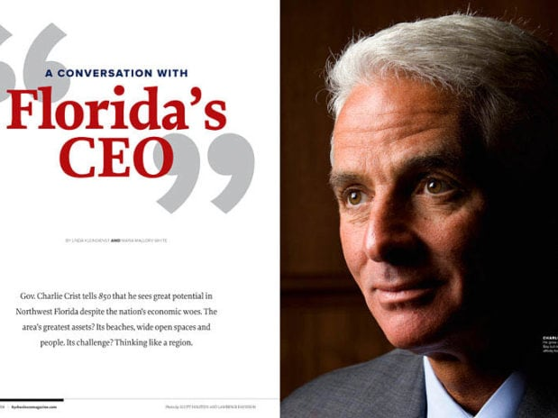A dramatic portrait of Florida Governor Charlie Crist in the opening spread in 850 business magazine.