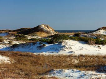 Topsail Hill Preserve State Park sand dunes in Santa Rosa Beach, Florida.