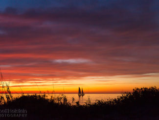 Sand dunes frame a sailboat at sunset in the Gulf of Mexico in Venice, Florida.