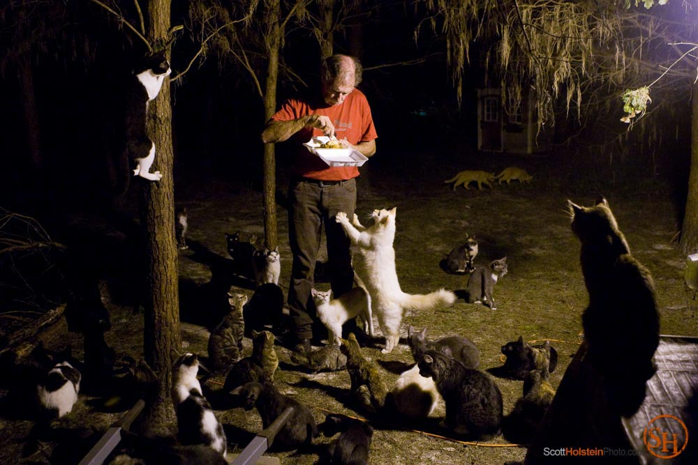 Photo of Craig Grant eating his dinner while cats beg by Tallahassee photographer Scott Holstein.