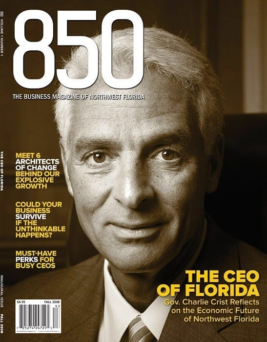 A sepia-toned portrait of Florida Governor Charlie Crist graces the cover of 850 business magazine.