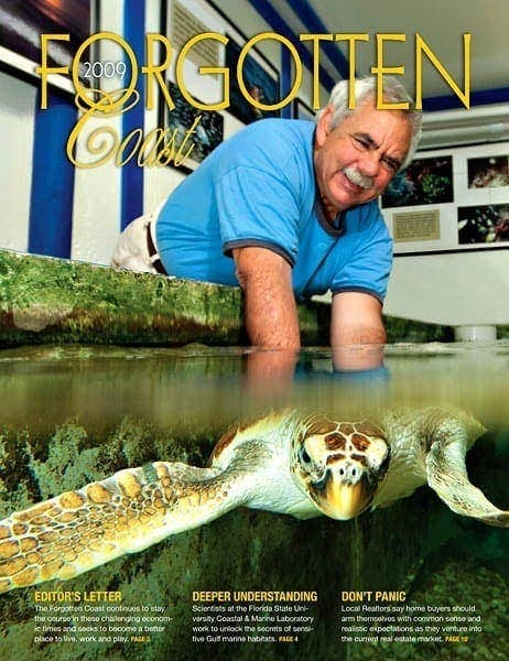 Photo of Jack Rudloe holding a green sea turtle swimming underwater by Florida photographer Scott Holstein.