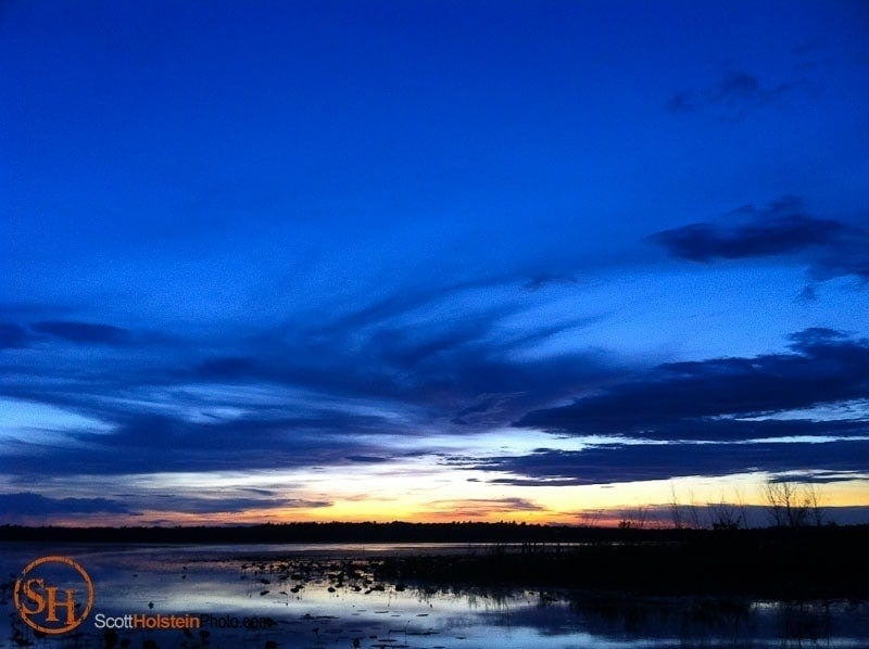 Photograph of a blue dusk after sunset at Lake Jackson in Tallahassee, Florida.