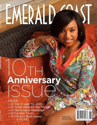 Portrait of a beautiful black woman on the cover of Emerald Coast magazine's 10th anniversary issue.