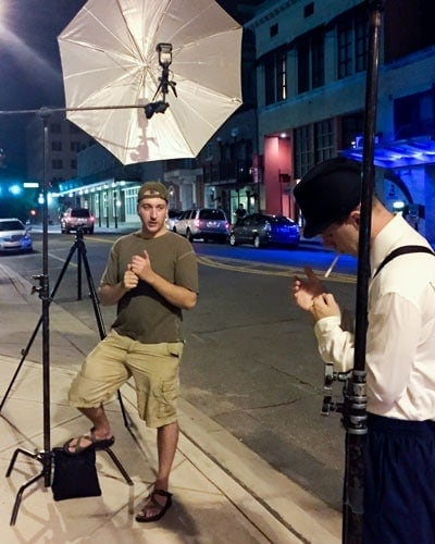 The blue light fired into the umbrella, and its relation to the camera and the subject, used to create the portrait by Tallahassee photographer Scott Holstein.