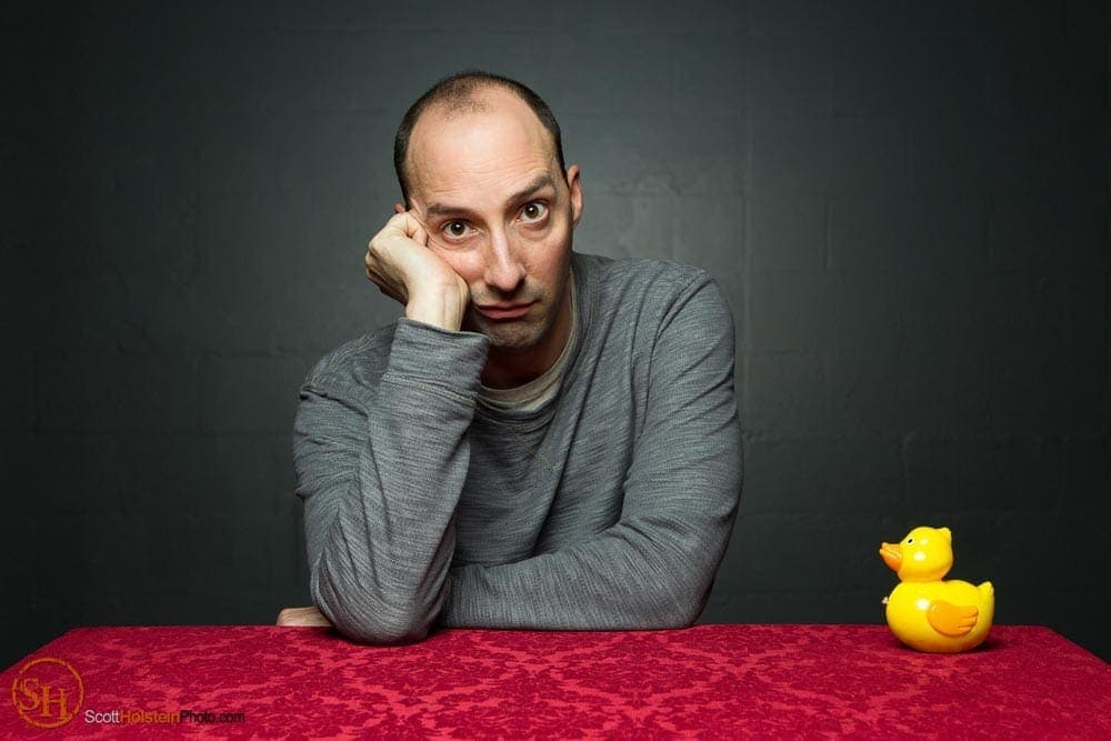 Portrait of actor Tony Hale with a yellow toy duck by Tallahassee photographer Scott Holstein.