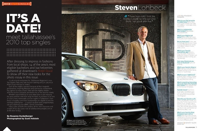 Portrait of Steven leaning against a white BMW at Hotel Duval by Tallahassee photographer Scott Holstein.