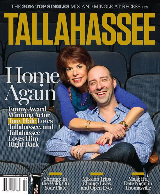 Portrait of Tina Williams hugging actor Tony Hale by Tallahassee photographer Scott Holstein.